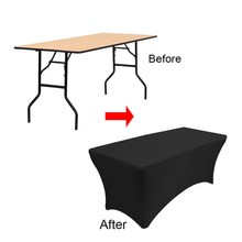 Hot sale & !!! 10pcs 6ft  Black Rectangle Spandex Table Cloths Elastic table cloth Free Shipping