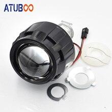 2.5 Bi-xenon Projector Lens With Black Mini Gatling Gun Shrouds For Cars/Motorcycle H7 H4 Headlight H1 Xenon Bulb Car Styling retrofit headlights cover 2 5for h1 mini projector lens silver gatling gun shroud [qp379]
