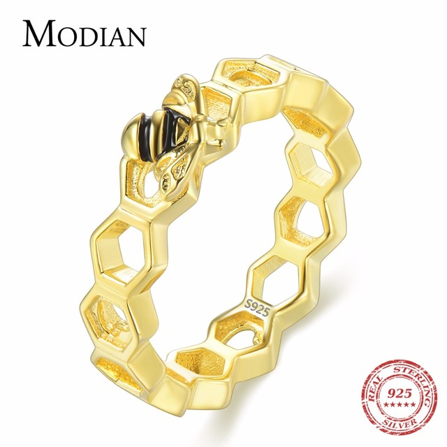 Modian New 100% 925 Sterling Silver Hearts Gold Color Bee Rings Honeycomb Exquisite For Women Best Party Silver Jewelry Anel