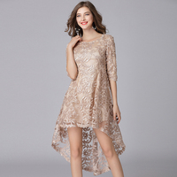 2019 elegant women high and low asymmetrical lace dresses plus size tulle flowers women sexy party dress golden color