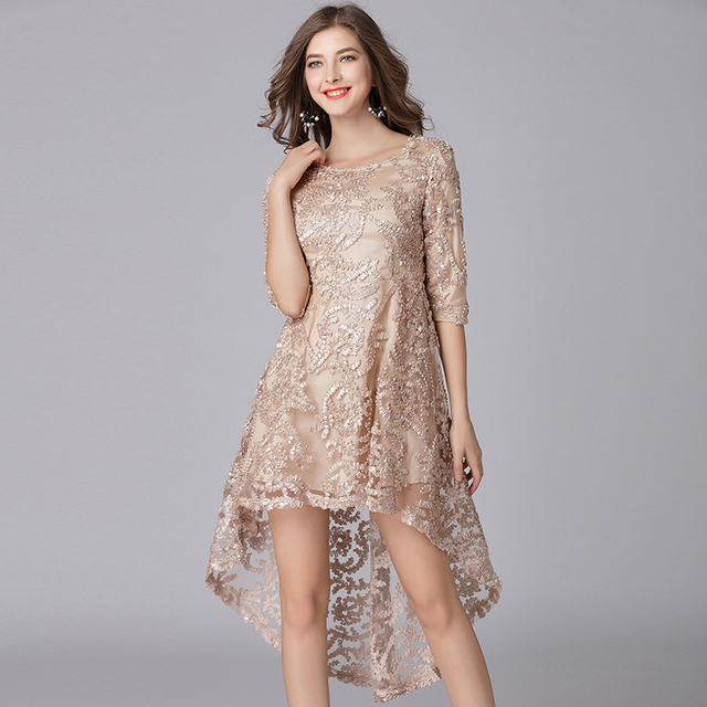 Us 3225 25 Offaliexpresscom Buy 2019 Elegant Women High And Low Asymmetrical Lace Dresses Plus Size Tulle Flowers Women Sexy Party Dress Golden
