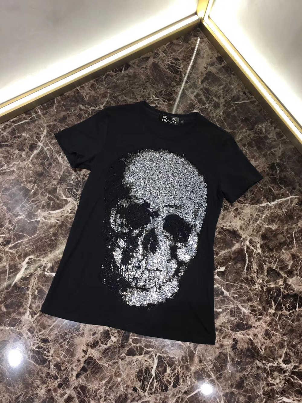PPFRIEND kristal büyük kafatası erkek Tshirt Casual yuvarlak boyun kısa kollu Tees erkek beyaz siyah % 100% pamuklu T shirt erkek üstleri PP 9061