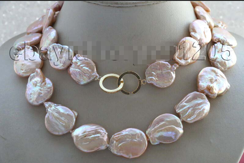 Free Shipping 32 Genuine Natural 26mm Pink Reborn Keshi Pearl Necklace 14KGP #f1971!