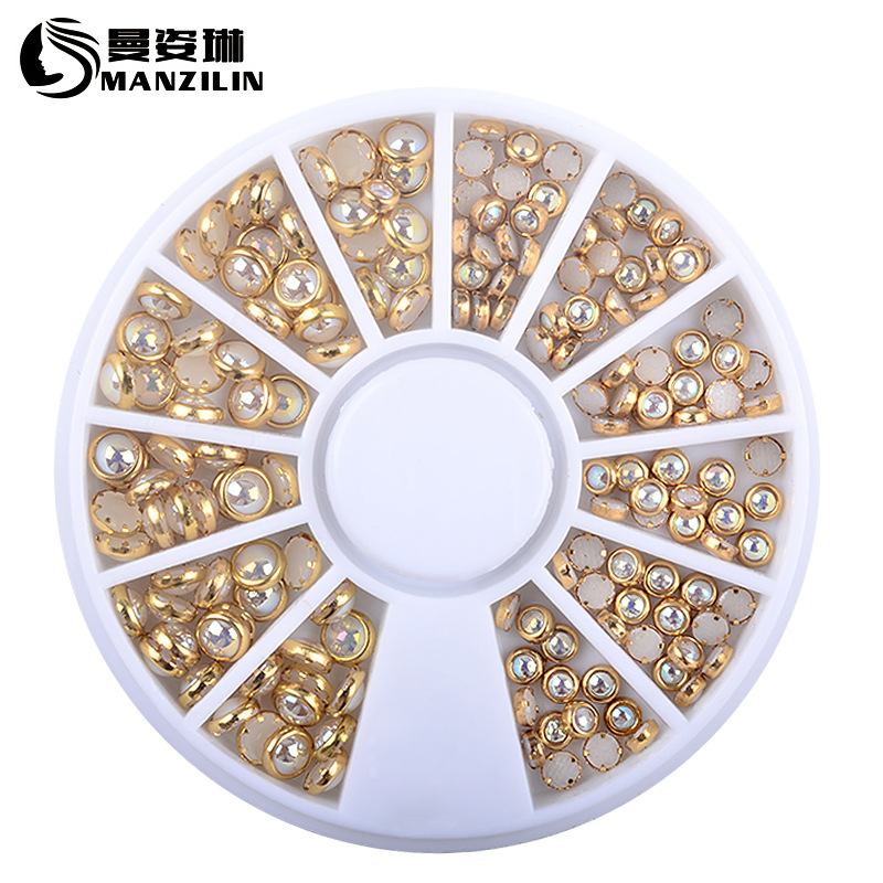 3d Nail Glitter Rhinestone Wrapping Pearls AB Colorful 2MM 3MM Wheel Gold Metal Studs DIY Beauty