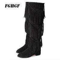 Новые женские сапоги, сапоги из кожи с бахромой, Высокие ботфорты на толстом каблуке