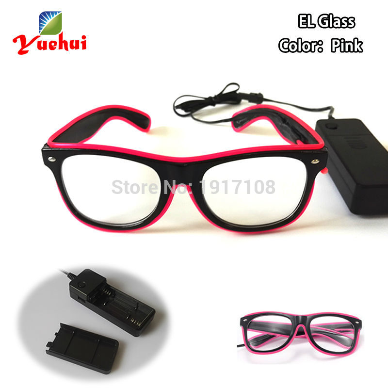 New Style 10 Color Select LED Glasses Decor Sound activated Light up EL wire Sun Glasses Gift battery Powered Party Supplies