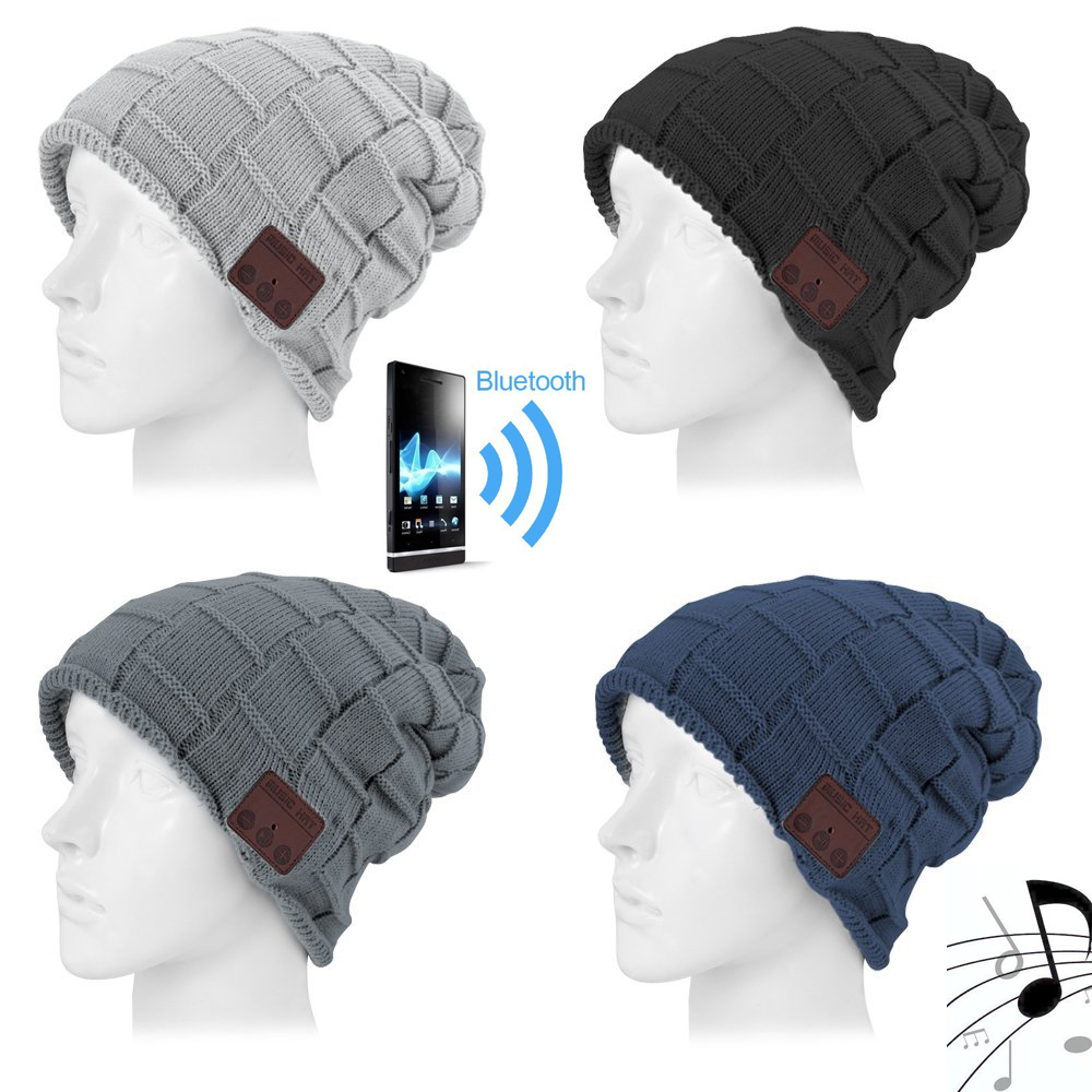 Winter Smart Wireless Bluetooth Headset Knit Hats Headphone Bluetooth fashion Music Player Hat Earphone, Best Christmas gift aetrue winter beanie men knit hat skullies beanies winter hats for men women caps warm baggy gorras bonnet fashion cap hat 2017