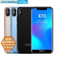 DOOGEE X70 смартфон с распознаванием лица 5,5 ''U-Notch 19:9 MTK6580 4 ядра 2 Гб Оперативная память 16 Гб Встроенная память двойной Камера 8.0MP Android 8,1 4000 мАч
