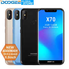 "DOOGEE X70 Smartphone Face Unlock  5.5"" U-Notch 19:9 MTK6580 Quad Core 2GB RAM 16GB ROM Dual Camera 8.0MP Android 8.1 4000mAh"