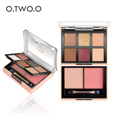 O.TWO.O Palette Eyeshadow Highlighter Glitter Blusher Face Contour Makeup Pallete 6 Colors Eyeshadow+2 Colors Blusher Pallete(China)