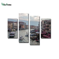 Coastal streetscape canvas wall art print home decor for living room pictures 4 panel large poster HD printed
