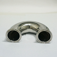 51mm O D 304 Stainless Steel Sanitary Ferrule 180 Degree Elbow Pipe Fitting Tri Clamp