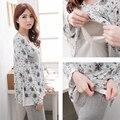Материнство пижамы уход пижамы комплект 100% хлопок осень и зима грудное вскармливание одежда для беременных