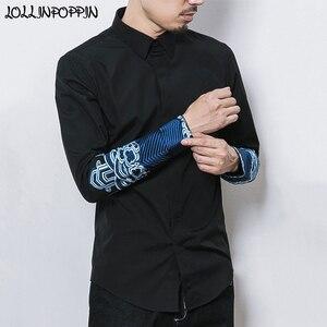 Camisa de manga larga para hombre de estilo chino, puños bordados, camisas de Vestir Vintage para hombre de estilo real, negro/blanco