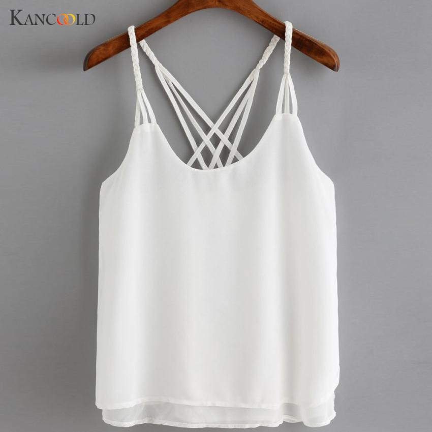KANCOOLD womens tank tops crop top Women Casual female Chiffon Sleeveless Crop Top Vest Tank Shirt Blouse Cami Top casual APR6