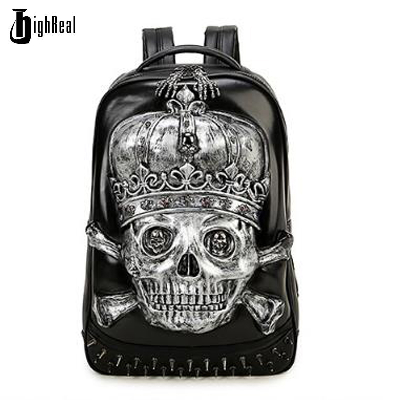 HIGHREAL Fashion Men Skull Backpacks School Computer Bags 3D Leather Personality Silver Gold Black Bags Vintage Halloween Bags 3d lion leather backpacks fashion men school travel computer backpack bags personality silver gold rivet animal bags halloween