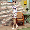High Quality Chinese FemaleTradition Qipao Half Sleeve Silk Mini Cheong-sam Tang Suit Dress Flower Size S M L XL XXL