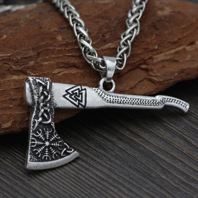 Men Viking Odin Mamen Nordic Viking Trinity Valknut Vegvisir Compass  Amulet Pendant Necklace Talisman Jewelry 1