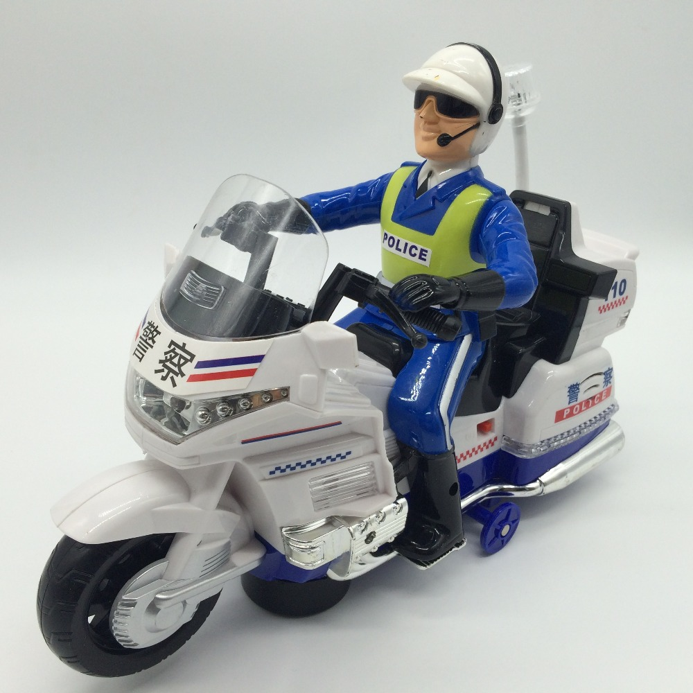 Boy Electric Police Motorcycle Music Light Up Hot Wheel Car Educational Toys For Children Kids Traffic Police Figure Toy