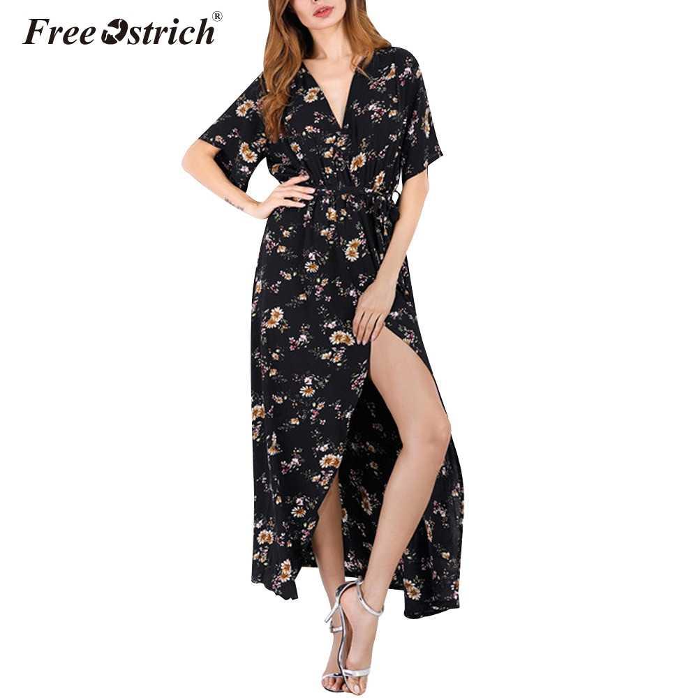 cf0fba17b63e0 2019 Summer Fashion Chiffon Dress Women V Neck Floral Print Maxi ...