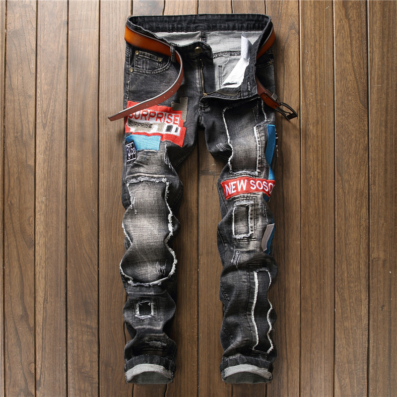 Mens Jeans New Straight Baggy Jeans Holes Ripped Design Fashion Embroidery Mens Streetwear Jeans Casual Big Size Pants