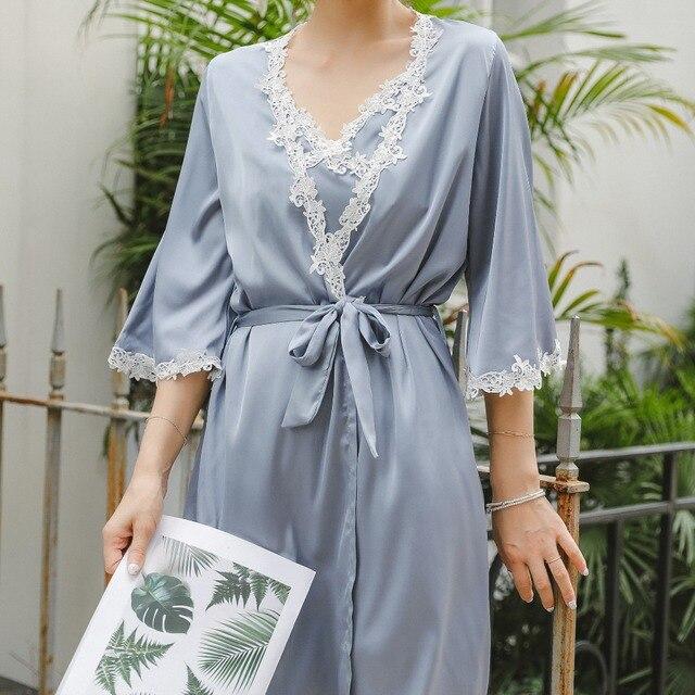2504729ebc2 Autumn sexy pajamas 2 piece Robe beautiful lace gown sling stamp long white  nightdress Gown Sets women sleeping dress night wear