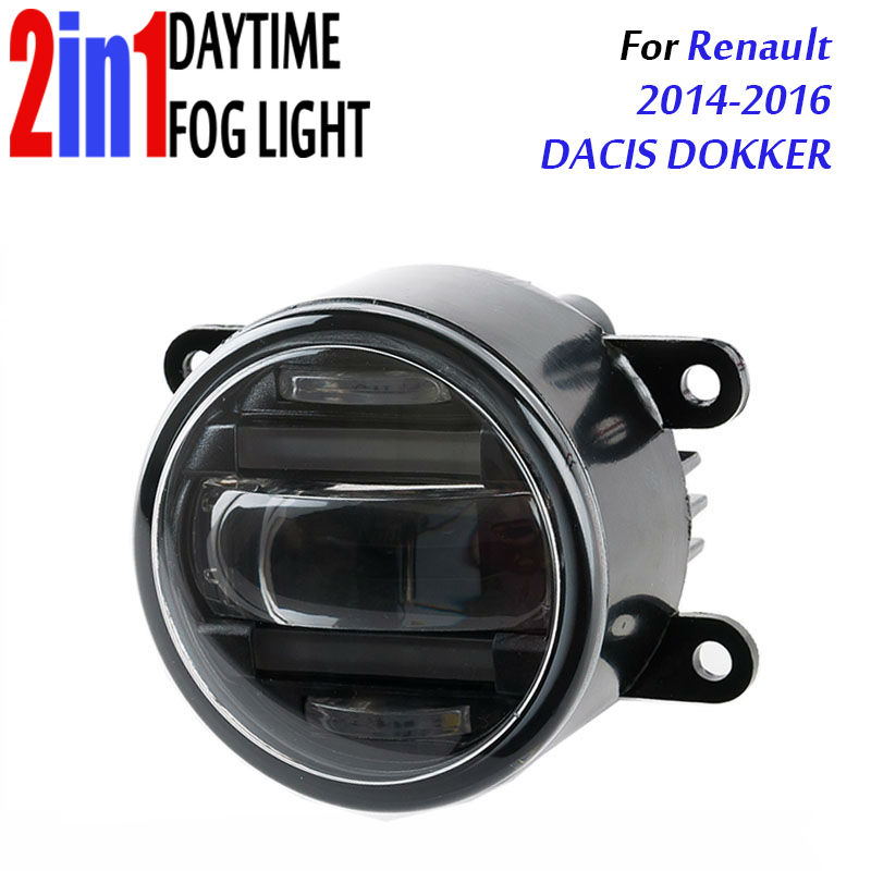 for Renault DACIS DOKKER 2014 3.5 90mm Round LED Fog Light Daytime Running Lamp Assembly LED Chips Fog Lamp DRL Lighting Lens