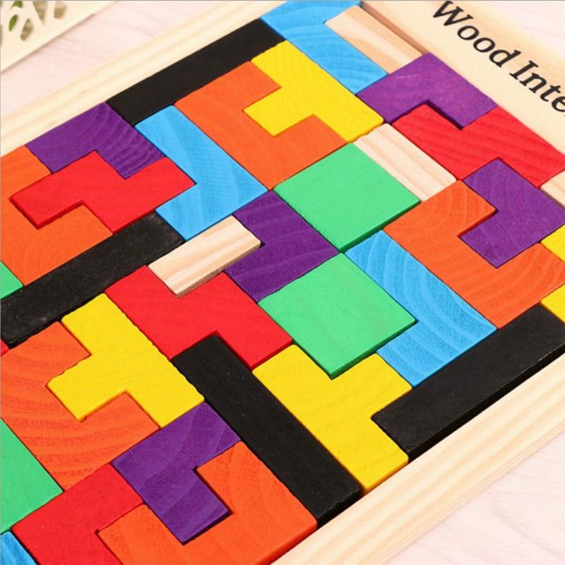 Kids Leker Colorful Wooden Tangram Brain Teaser Puzzle Leker Tetris - Puslespill - Bilde 2
