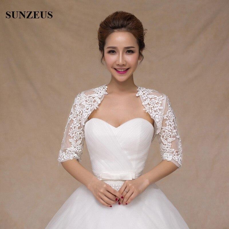 Half Sleeve Lace Bridal Jacket Red Evening Dress Wraps for Girls Elegant Appliques Cheap Wedding Accessories Wedding Bolero S459