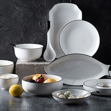 Hot Sale white simple Ceramic Chinese tableware irregular fish dish Seasoning Disc Western plate steak dishes salad soup bowl