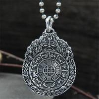925 Sterling Silver 12 Zodiac Pendant S925 Wholesale Antique Retro Style Twelve Zodiac Female Necklace Pendant Handmade Acce