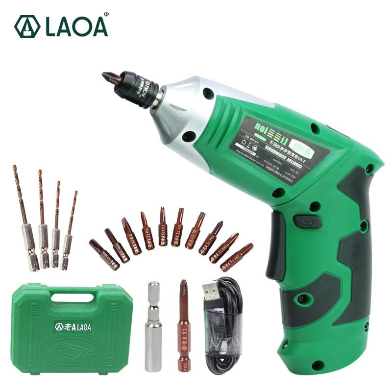 Přenosný elektrický šroubovák LAOA 3,6 V s akumulátorovou vrtačkou lithiovou baterií DIY s 11 bity