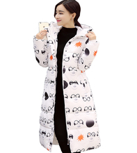 Autumn and winter new women's long coat down jacket thickening fashion Slim Slim code printing warm cotton jacket
