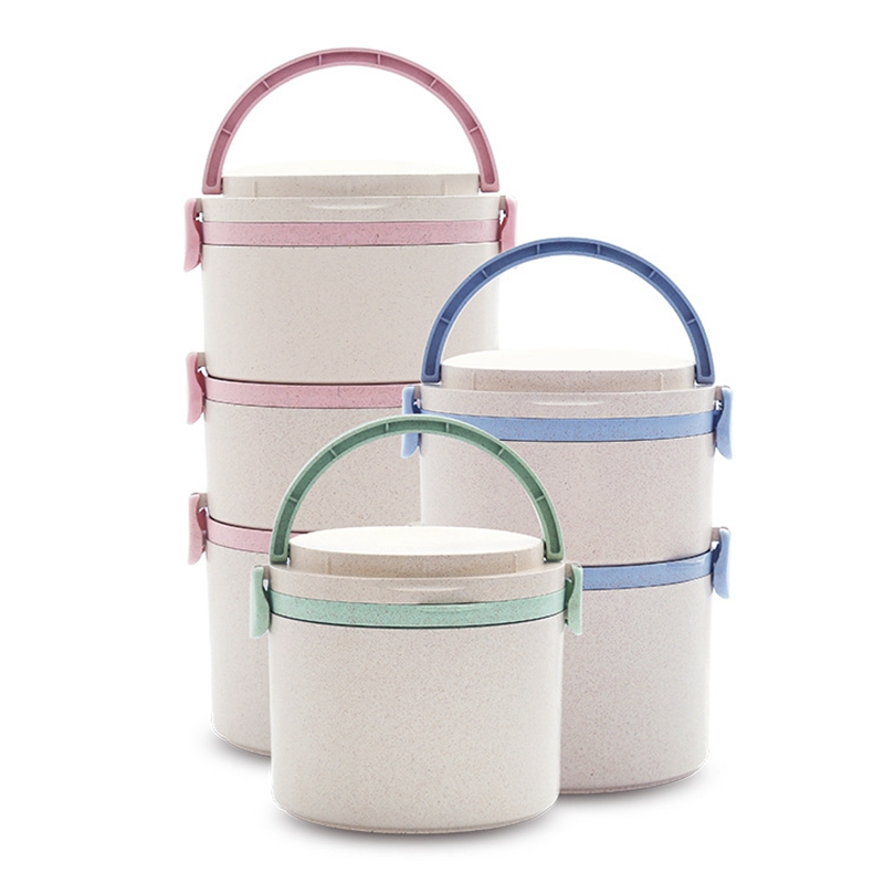 Lunch Box for Kids Food Storage Container Wheat Straw Leakproof Lunch Box for Workers Portable School Students Picnic Lunch Box