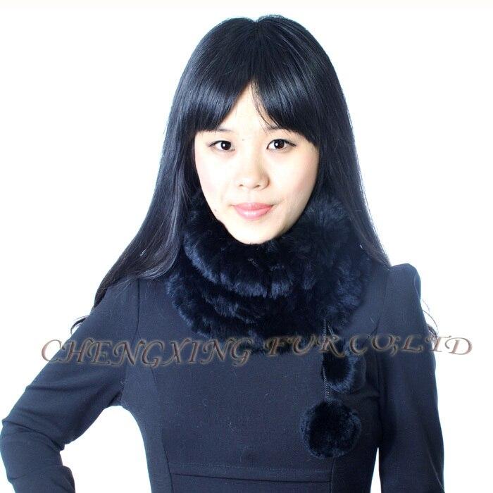 CX-S-160D для девочек, модный двусторонний Настоящий мех кролика, вязаный шарф - Цвет: Черный