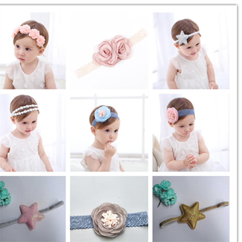 High Quality Baby Dimensional Lace Flower Embroidery Headband Korean Girls Hairband Hair Accessories Shiny Hair Band Scrunchy