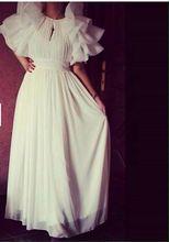 Real Photo robe de soiree Modische Lange Ballkleider 2016 Scoop Chiffon-Falte Abendkleider Sexy Party Kleid