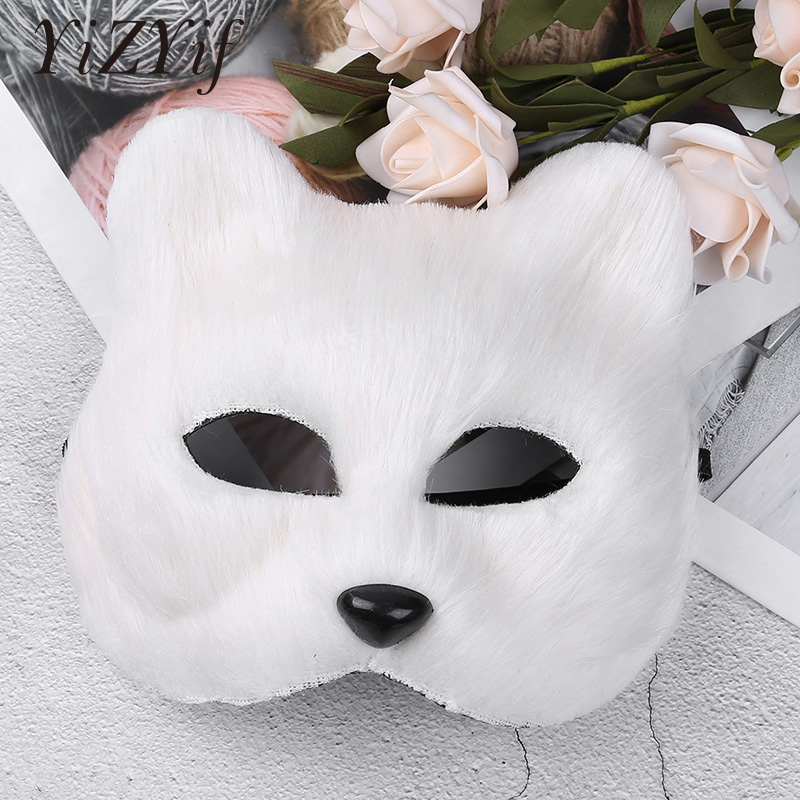 YiZYiF Half Face Furry Fox Mask Cosplay Costume Faux Fur Animal Fox Masks For Halloween Cosplay Masquerade Party Accessory Masks