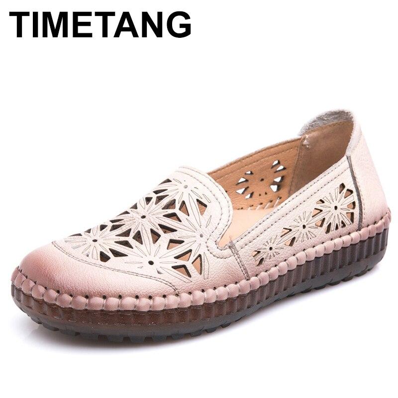 Tiметangfit/женские туфли на плоской подошве ручной работы с широкой подошвой, женские летние туфли из натуральной кожи, женские лоферы, дышащие мягкие женские туфли на полой подошве Обувь без каблука      АлиЭкспресс