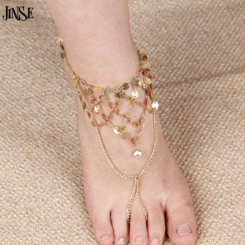 JINSE AK143 New Fashion Multilayer Sequins Mesh Shining Tassel Anklet Foot Chain Barefoot Beach Sandle Womens Gold Jewelry