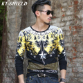 Hot Sell Fashion Men T shirt Cotton Tees Tops Autumn Brand Long Sleeve O neck Mens T-shirt Luxury Printed T Shirts Male Clothing