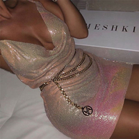 Shiny Sequins Deep V Neck Mini Dress Women Sexy Backless Spaghetti Strap Bodycon Dress 2019 Summer Vestido Chic Party Clubwear