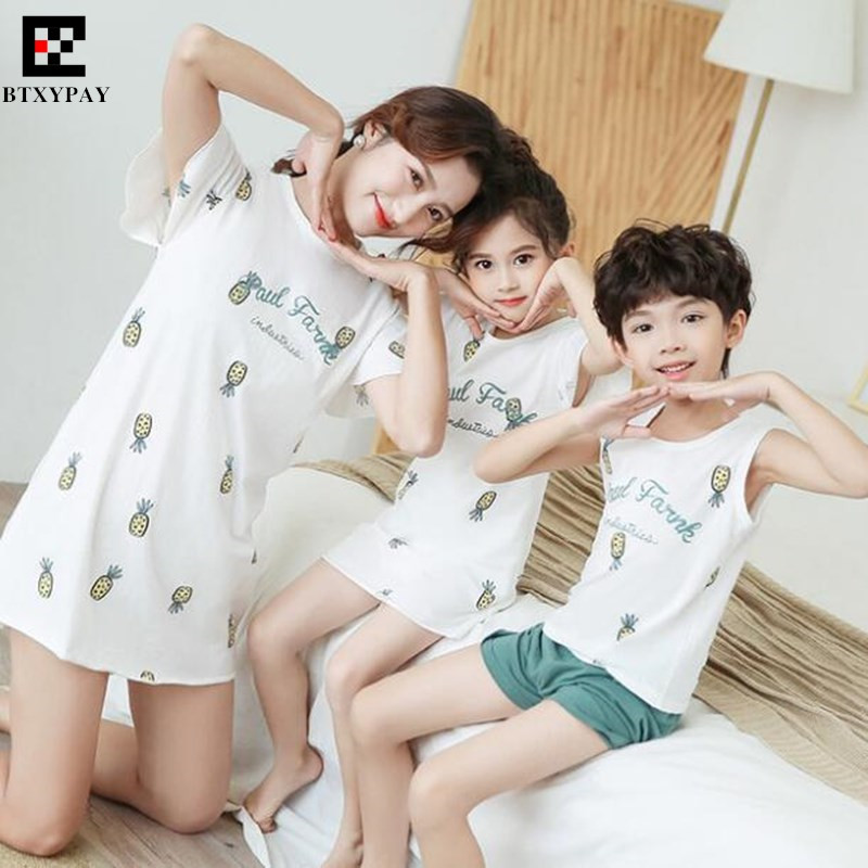 100p Summer Parent-child Sets (Vest+Shorts) Kids Boy&Girl Family Matching Outfits,Mother&Daughter Dresses Son Home Shorts Tops