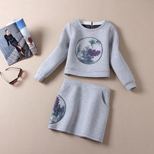 2015 Women Top Skirts Set Pullovers Print Hoodies and Skirt 2 Piece Set Casual Clothing Suit Vestidos Space Cotton Grey Sets