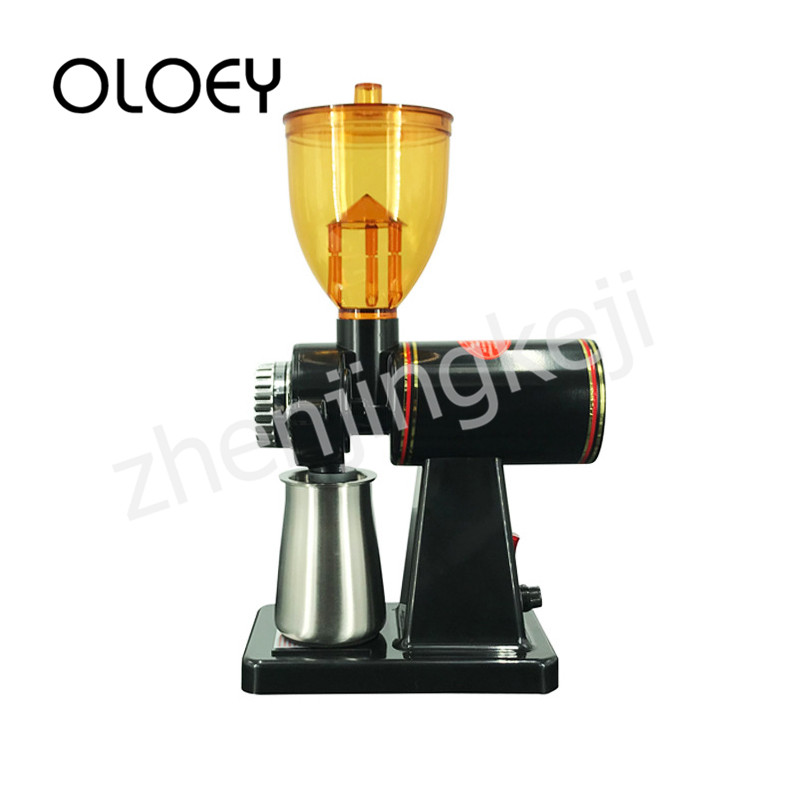 Electric Coffee Bean Grinder Siphon Type Anti-jumping Bean Adjustable Thickness High Capacity Semiautomatic ABS Material Black