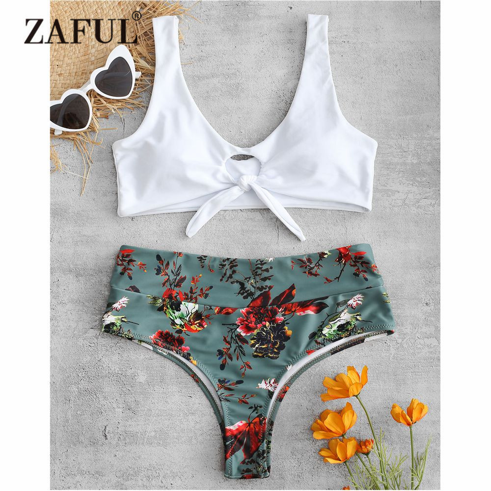 c713a04712fb7 Detail Feedback Questions about ZAFUL Floral Knotted Bikini Set Swimwear  Women High Waist Swimsuit Flower Scoop Neck Padded Swimwear Cutout Biquni  Bathing ...