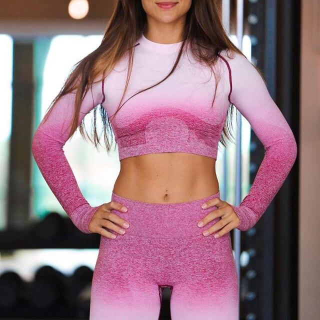 2 PCS יוגה סט נשים ארוך שרוול יבול צמרות גבוהה מותן בטן בקרת ספורט חותלות כושר בגדים Ombre חלק ספורט חליפה