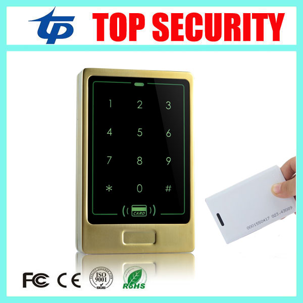 Golden color waterproof touch keypad 125KHZ EM card RFID smart card door access controller standalone single door access control