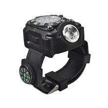 New Outdoor Innovative High Quality ABS Material Smart Wearable Flashlight CREE Led Wrist Torch With Watch and Compass.