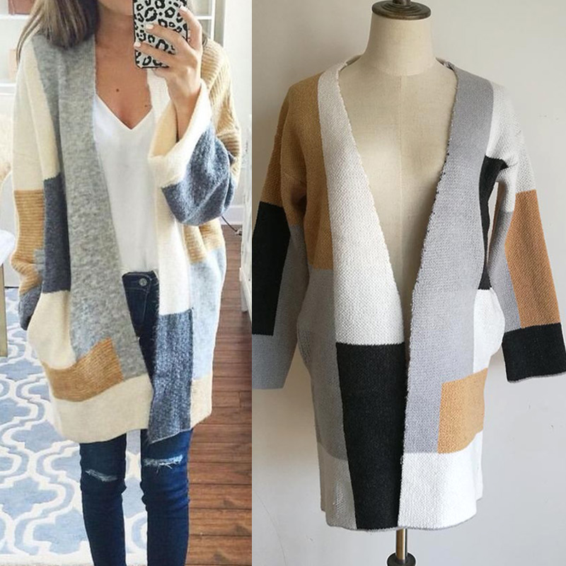 Women Lady Knitted Baggy Cardigan Coat Knitting Sweater Long Sleeve For Winter FS99